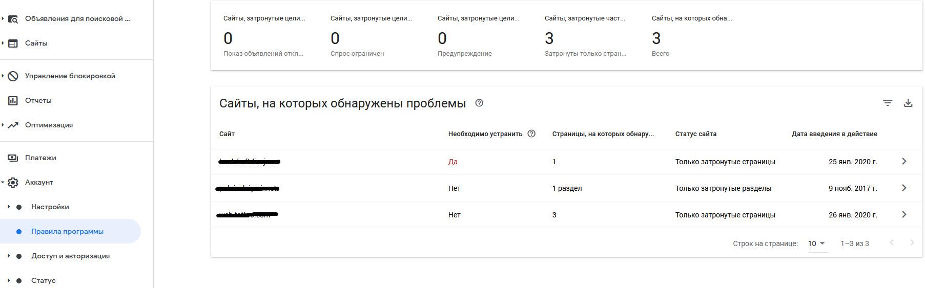 Нарушения Google Adsense